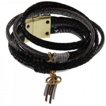 Armband wrap Ibiza zwart magneetsluiting
