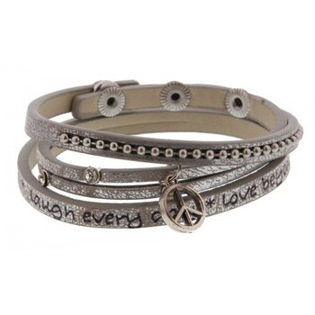 Armband wrap Peace zilver Live every moment