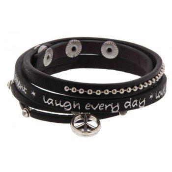 Armband wrap Peace zwart Live every moment