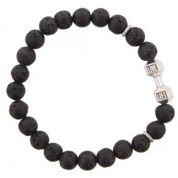 Armband kralen zwart dumbbell zilver