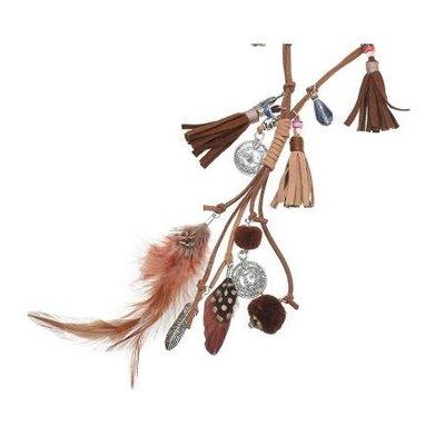 Ketting lang Tassels & Beads bruin