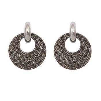 Oorbellen Sparkle Round grijs-zilver