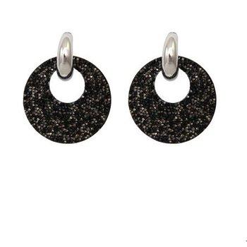 Oorbellen Sparkle Round zwart-zilver