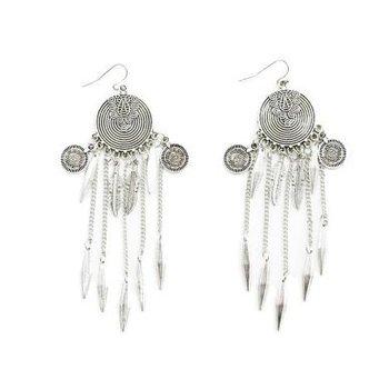 Oorbellen Boho Coins & Feathers zilver