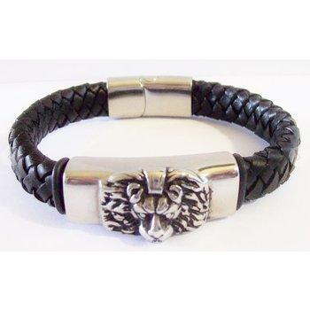 Armband heren zwart leer met leeuwenkop