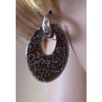 Oorbellen Glam ovaal strass zilver-bruin