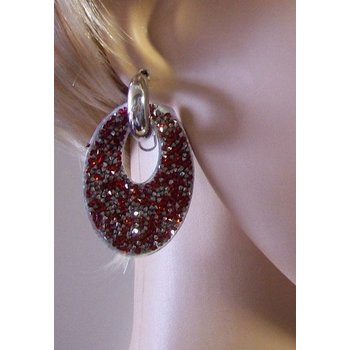 Oorbellen Glam ovaal strass zilver-rood
