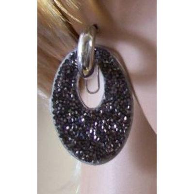 Oorbellen Glam ovaal strass zilver-grijs