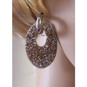 Oorbellen Glam ovaal strass zilver-cognac
