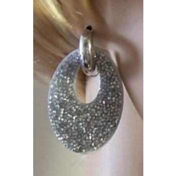 Oorbellen Glam ovaal strass zilver
