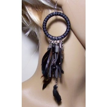 Oorbellen statement Hoops & Feathers zwart