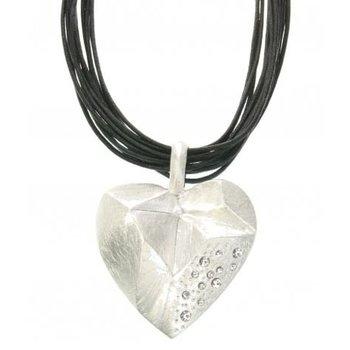 Behave Ketting koord zwart Heart mat-zilver
