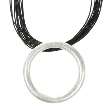 Behave Ketting koord zwart Circle mat-zilver