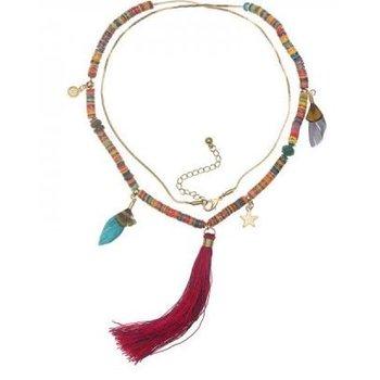 Ketting lang Tassel & Beads multicolor