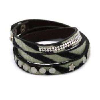 Armband wrap Zebra & studs