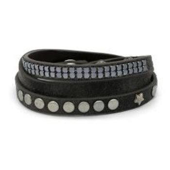 Armband wrap grijs met studs