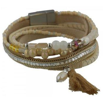 Armband wrap Ibiza beige met parel