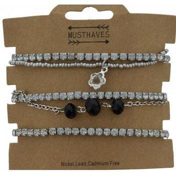 Armbanden set a 5 fijn strass-zilver