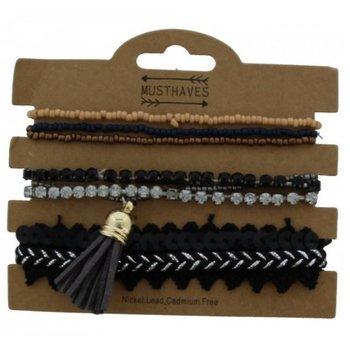Armband set a 7 fijn zwart-strass-beads
