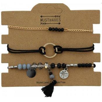 Armband set a 3 fijn Circle & Beads