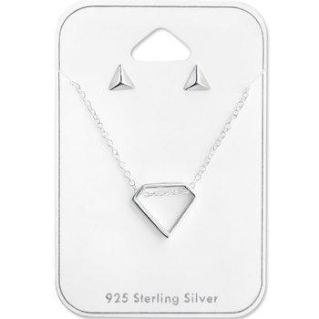 Ketting zilver 925 Diamond & Triangle studs