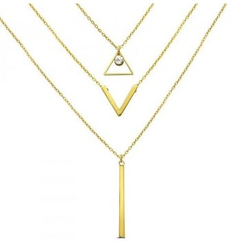 Ketting goud 3-layer Triangle, V & Bar