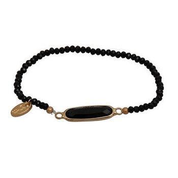 Jozemiek Armband Minimalistic Crystal stone ovaal zwart