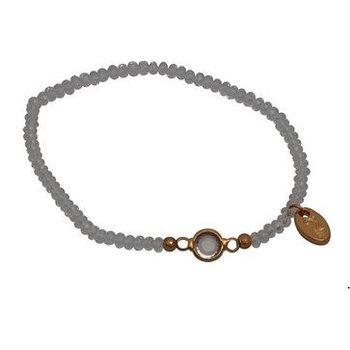 Jozemiek Armband Minimalistic Crystal Stone lichtgrijs rond