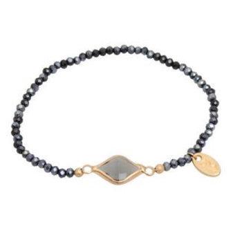 Jozemiek Armband Minimalistic Crystal Stone vierkant zwart