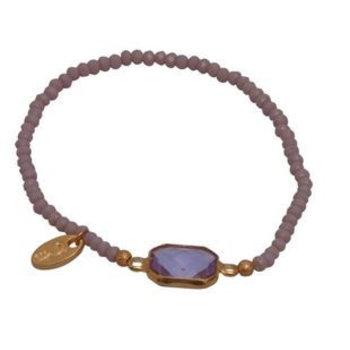 Jozemiek Armband Minimalistic Crystal Stone purple