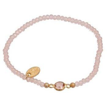 Jozemiek Armband Minimalistic Crystal Stone rond roze