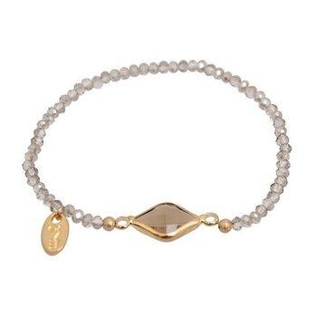 Jozemiek Armband Minimalistic Crystal Stone vierkant grijs