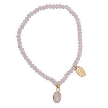 Jozemiek Armband Minimalistic Crystal Stone ovaal roze