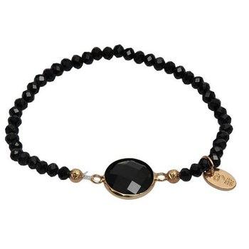 Jozemiek Armband Crystal stone rond zwart
