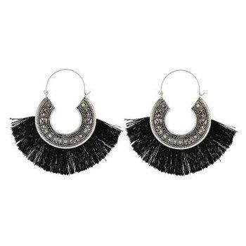 Yehwang Oorbellen Vintage zilver & zwartTassels