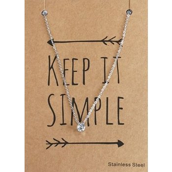Ketting fijn stainless steel - strass