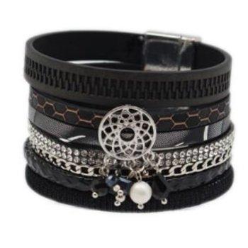 Armband exclusief breed zwart magneetsluiting