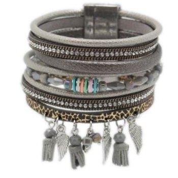 Armband exclusief breed grijs magneetsluiting