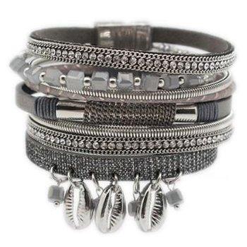 Armband exclusief breed grijs magneetsluiting  02