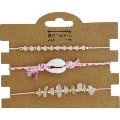 Armband set a 3 fijn Boho Beads & Shell roze