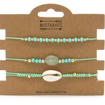 Armband set a 3 fijn Boho Beads & Shell mintgroen