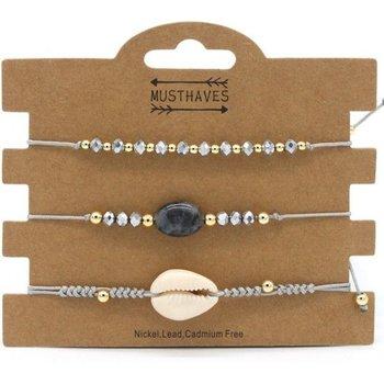 Armband set a 3 fijn Boho Beads & Shell grijs