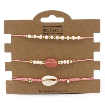 Armband set a 3 fijn Boho Beads & Shell pink
