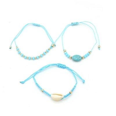 Armband set a 3 fijn Boho Beads & Shell blue