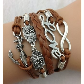 Armband zilver-brons Infinity-Love-Owls-Anchor