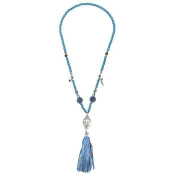 Ketting lang Boho Buddha & Tassel blauw
