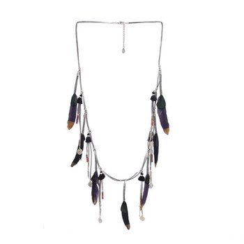 Ketting lang Indian Feathers zwart-zilver