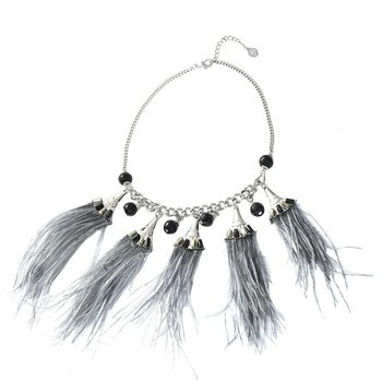 Ketting Feathers grijs-zilver