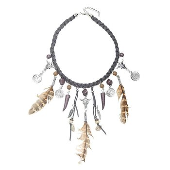Ketting Indian Feathers grijs