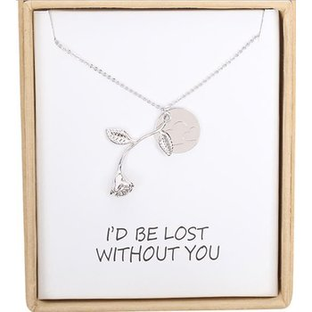 Ketting fijn Roos met Quote Lost without You zilver
